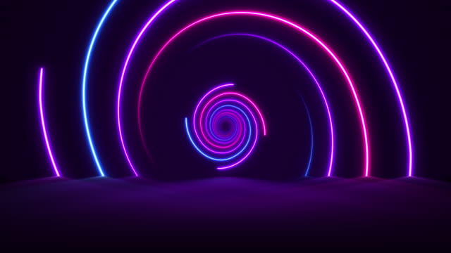 glowing neon lights - vaporwave spiral  backgrounds - loopable - performing arts event stock videos and b-roll footage