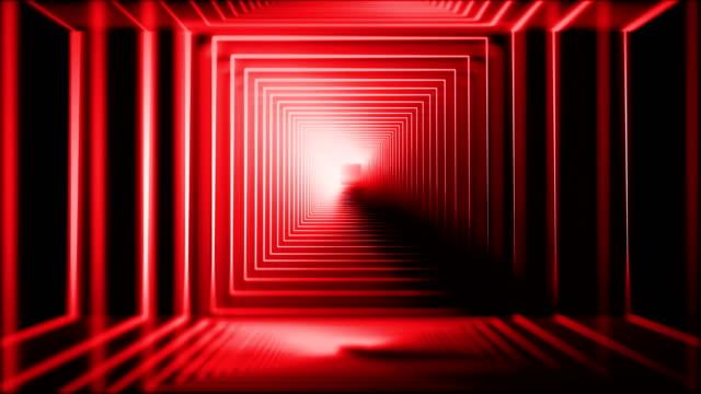 vidéos et rushes de lumières au néon brillantes - carré forme bidimensionnelle