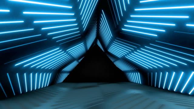 glühender neontunnel. abstrakter nahtloser hintergrund. fluoreszierendes ultraviolettes licht - wohnraum stock-videos und b-roll-filmmaterial