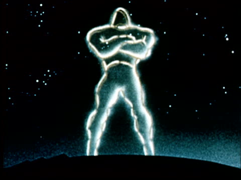 animation 1953 glowing outlines of 'atomic men' and needles in pin cushion - heroes stock videos & royalty-free footage