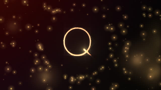 glowing particles shaping letter q with sphere opening and red glowing background in 3d and fading out - softness stock videos & royalty-free footage