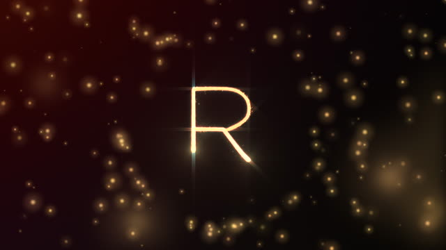 glowing particles shaping letter r with sphere opening and red glowing background in 3d and fading out - brightly lit stock videos & royalty-free footage