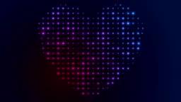 Glowing shiny blue violet heart shape video animation