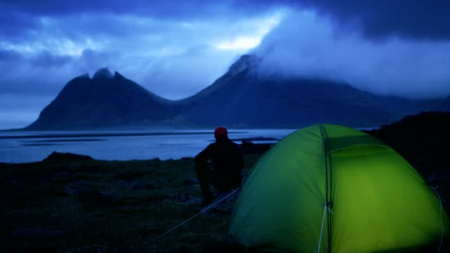 glowing tent under a cloudy sky - admiration stock videos & royalty-free footage
