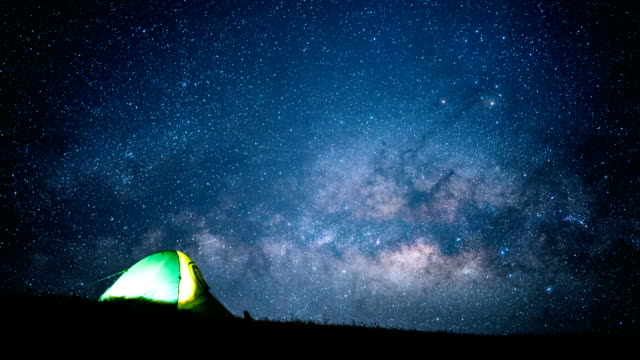 glowing tent under a milky way time lapse. - camping stock videos & royalty-free footage