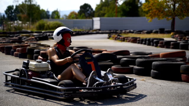 go kart speed drive race - hard hat stock videos & royalty-free footage