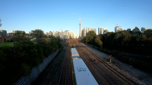 go train go transit toronto ontario canada - toronto stock videos & royalty-free footage