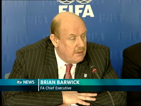 manchester int brian barwick press conference commenting on goal line technology sot think it's step forward / we were also allowed to see two very... - itv weekend evening news点の映像素材/bロール