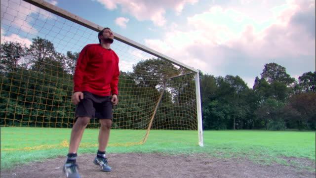 Goalie defending goal from soccer ball