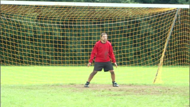 Goalie defending soccer goal