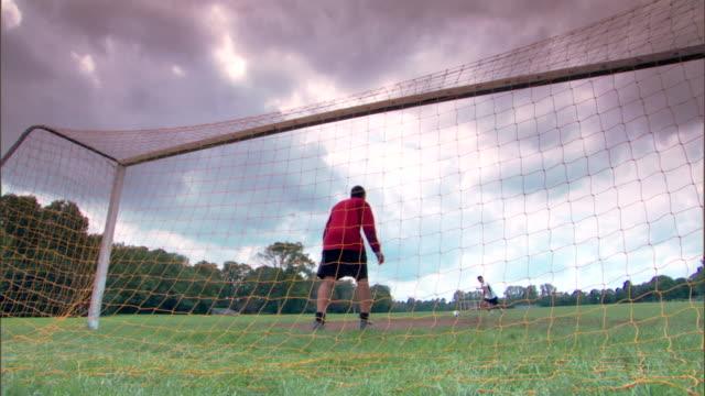 Goalie missing soccer ball