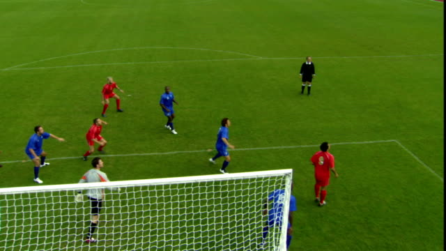 HA WS Goalie stopping soccer ball as it is thrown in from sidelines/ Sheffield, England