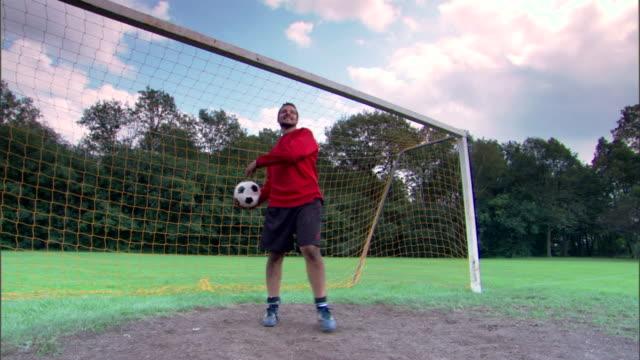 Goalie throwing soccer ball