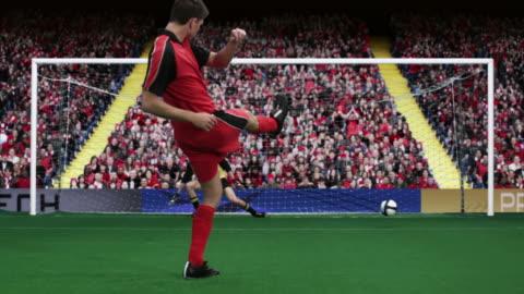 vídeos y material grabado en eventos de stock de goalkeeper and footballer scoring from penalty kick - portería artículos deportivos