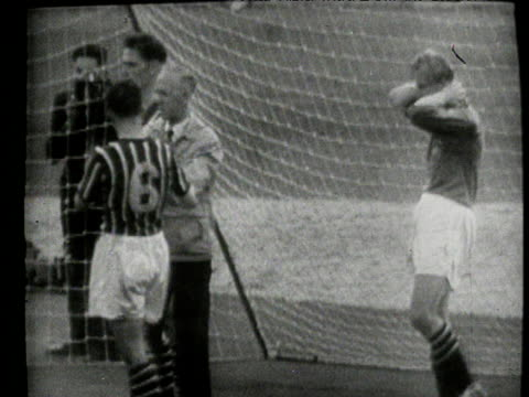 goalkeeper bert trautmann unknowingly breaks neck in clash with birmingham striker, trautmann plays on continuing to collect a cross ball, battling... - northern european stock videos & royalty-free footage