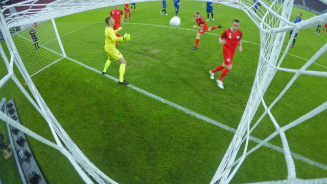 ld goalkeeper fails to defend the goal - team sport stock videos & royalty-free footage