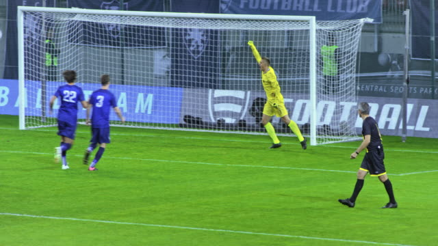 stockvideo's en b-roll-footage met goalkeeper saves the penalty kick and celebrates - sportwedstrijd