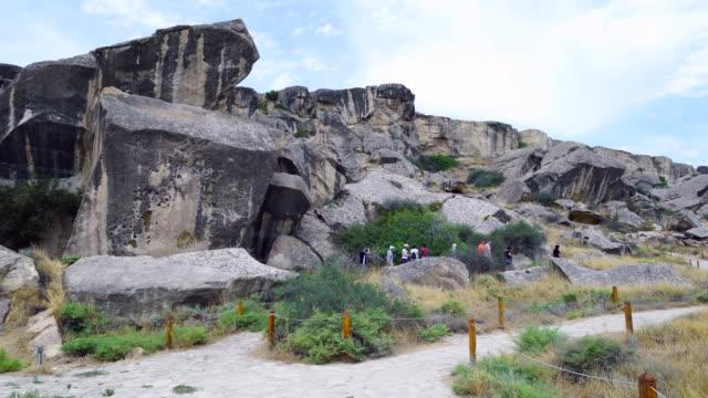 gobustan rock art cultural landscape - azerbaigian video stock e b–roll