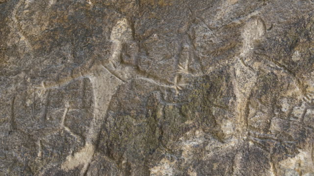gobustan rock art cultural landscape, world heritage site, unesco, azerbaijan, middle east - human representation stock videos and b-roll footage