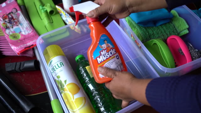 go-clean and go-jek services in jakarta, indonesia, on saturday, august 4, 2018. - cleaning agent stock videos & royalty-free footage