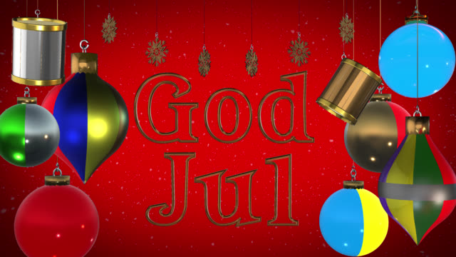 god jul swedish greeting with christmas decorations and snow - god stock videos and b-roll footage