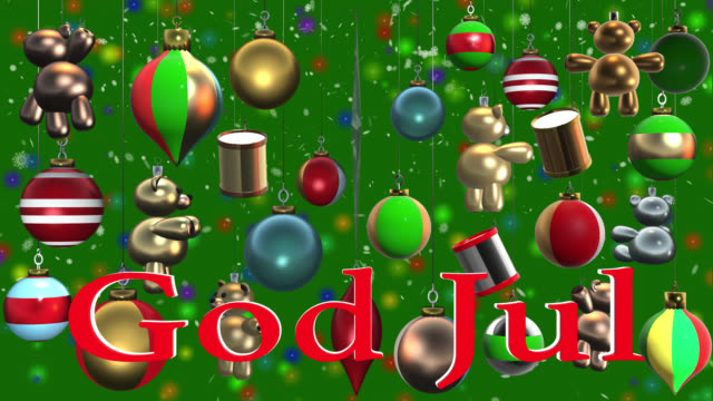 god jul swedish greeting with christmas decorations and snow - swedish culture stock videos & royalty-free footage