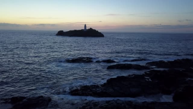 godrevy lighthouse - rocky coastline stock videos & royalty-free footage
