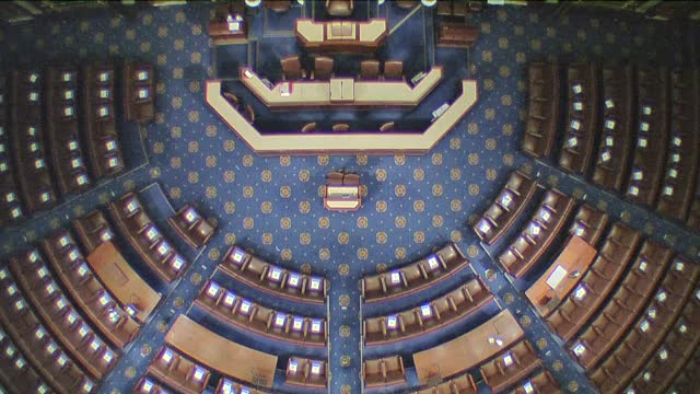 god's eye view down on floor of the house of representatives prior to start of the 117th congress. - アメリカ合衆国下院点の映像素材/bロール