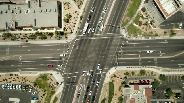 Gods eye view of a traffic intersection