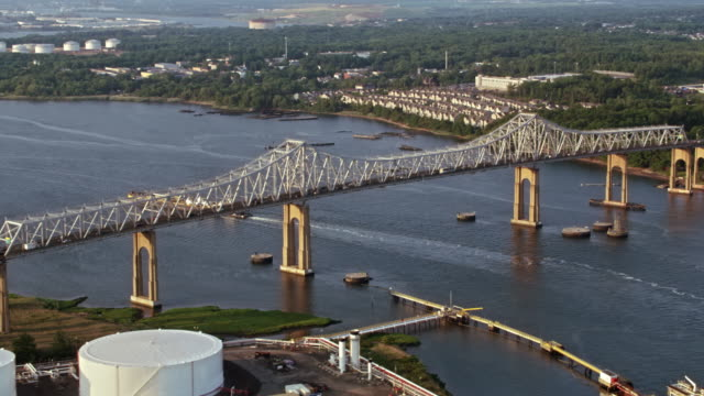 aerial goethals bridge crossing the arthur kill strait - staten island stock videos and b-roll footage