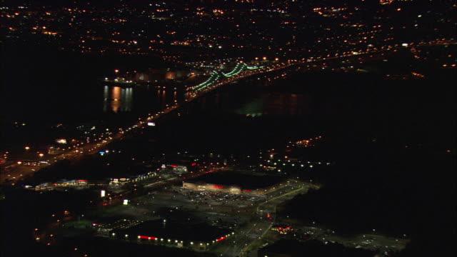 aerial ws goethals bridge illuminated at night / new york city, new york, usa - staten island stock videos and b-roll footage