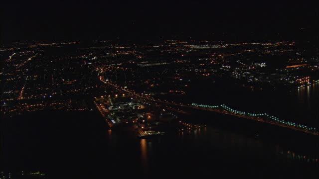 aerial ws goethals bridge illuminated at night / new york city, new york, usa - kantilever bildbanksvideor och videomaterial från bakom kulisserna