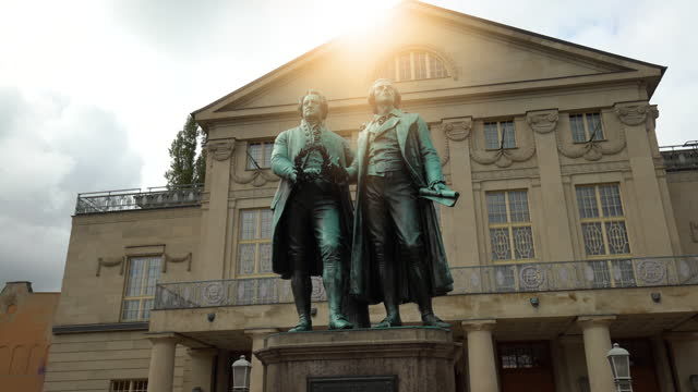 goethe and schiller monument in weimar, realtime - weimar stock videos & royalty-free footage