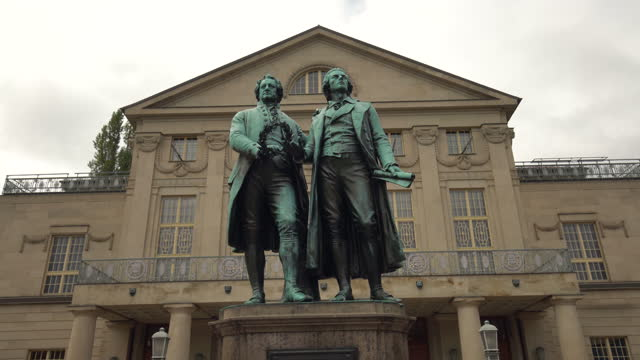 goethe and schiller monument in weimar, time lapse - weimar stock videos & royalty-free footage