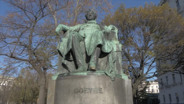 goethe statue against blue sky in winter, vienna, austria, europe - poetry stock videos & royalty-free footage