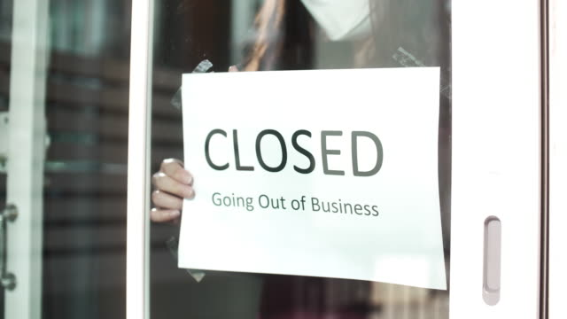 going out of business sign, closed business, slow motion - closed sign stock videos & royalty-free footage