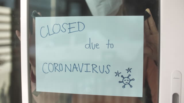 going out of business sign, store closing due to the covid-19 virus - economics stock videos & royalty-free footage