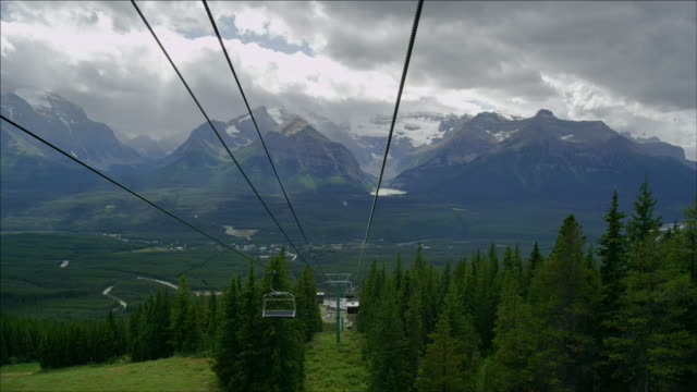 Going up in a cable car, Canadian Rockies, summertime. Lake Louise and Mount Victoria in background.