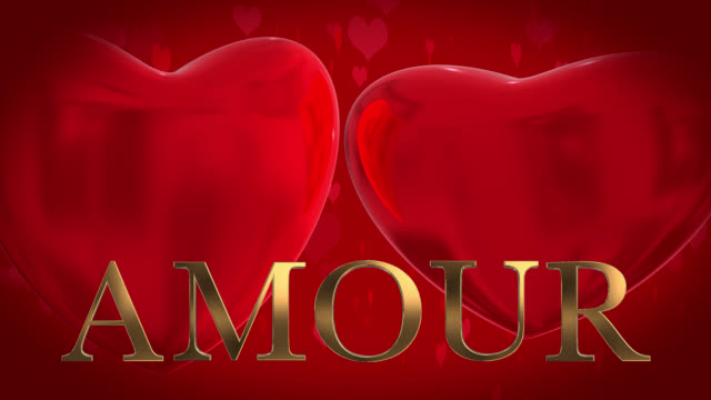 gold 3d french word amour with moving heart shaped particles and two beating 3d hearts on a red background - johnfscott stock videos & royalty-free footage