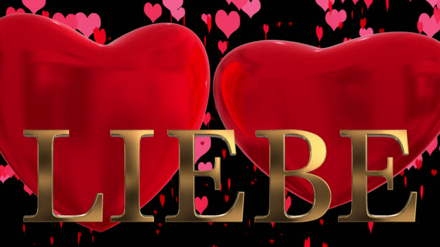 gold 3d german word liebe with moving heart shaped particles and two beating 3d hearts saved with alpha channel - liebe stock videos & royalty-free footage