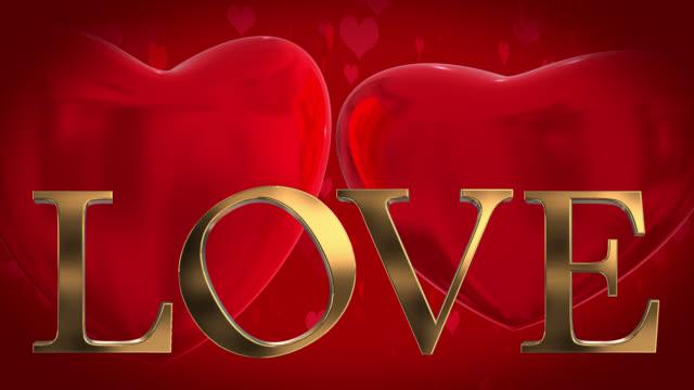 Goud 3D woord Love met bewegende hartvormige deeltjes en twee 3D harten gewonnen op een rode achtergrond
