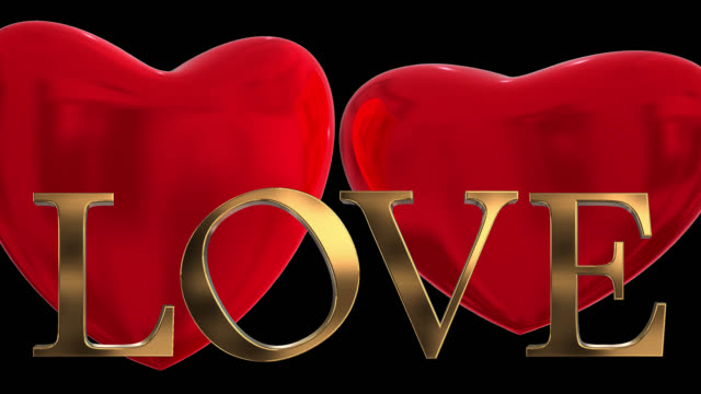 Goud 3D woord Love met twee verslaan 3D rode harten opgeslagen met alfakanaal