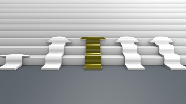 Gold and White Arrows Racing to the Top with Success Text, 3D Rendering