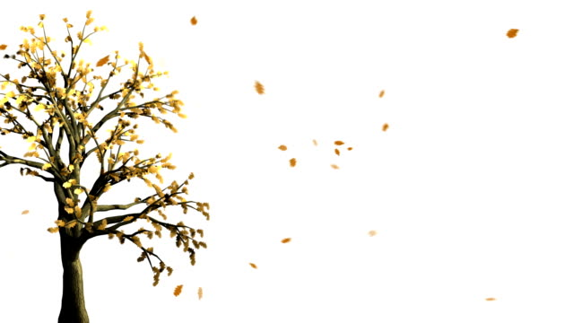 Gold Autumn. Abstract Tree shaken by Wind
