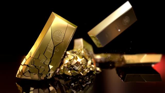 hd: gold bars zerstörung - barren geld und finanzen stock-videos und b-roll-filmmaterial