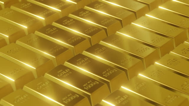 gold bars pattern rotating with shiny light - precious gemstone stock videos & royalty-free footage