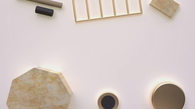 stockvideo's en b-roll-footage met goudbruin marmer abstract geometrische vorm lege ruimte achtergrond motion 3d rendering - marmer