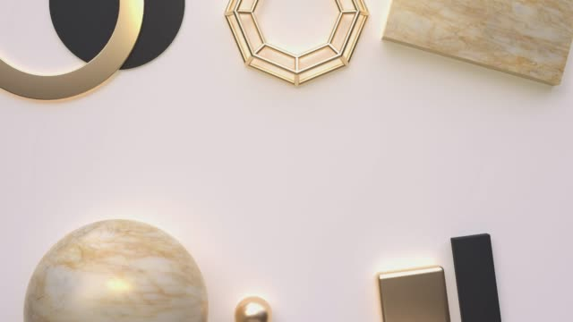 gold brown marble abstract geometric shape blank space background motion 3d rendering - flat lay stock videos & royalty-free footage