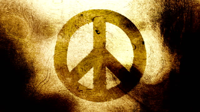 Gold brown peace symbol on a high contrasted grungy and dirty, animated, distressed and smudged 4k video background with swirls and frame by frame motion feel with street style for the concepts of peace, world peace, no war, protest, and tranquility