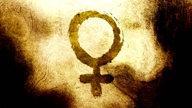 gold brown venus, female, gender symbol on a high contrasted grungy and dirty, animated, distressed and smudged 4k video background with swirls and frame by frame motion feel with street style for the concepts of gender equality, women-social issues - gender symbol stock videos & royalty-free footage